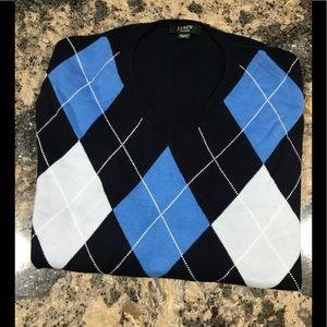 J Crew Navy Argyle V-Neck Sweater. EUC. Sz. L.